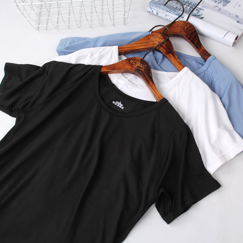 Upper-Garment Self-Cultivation Solid-Color Speed-Do Half-Sleeve Pity Round-Neck Leisure-Time