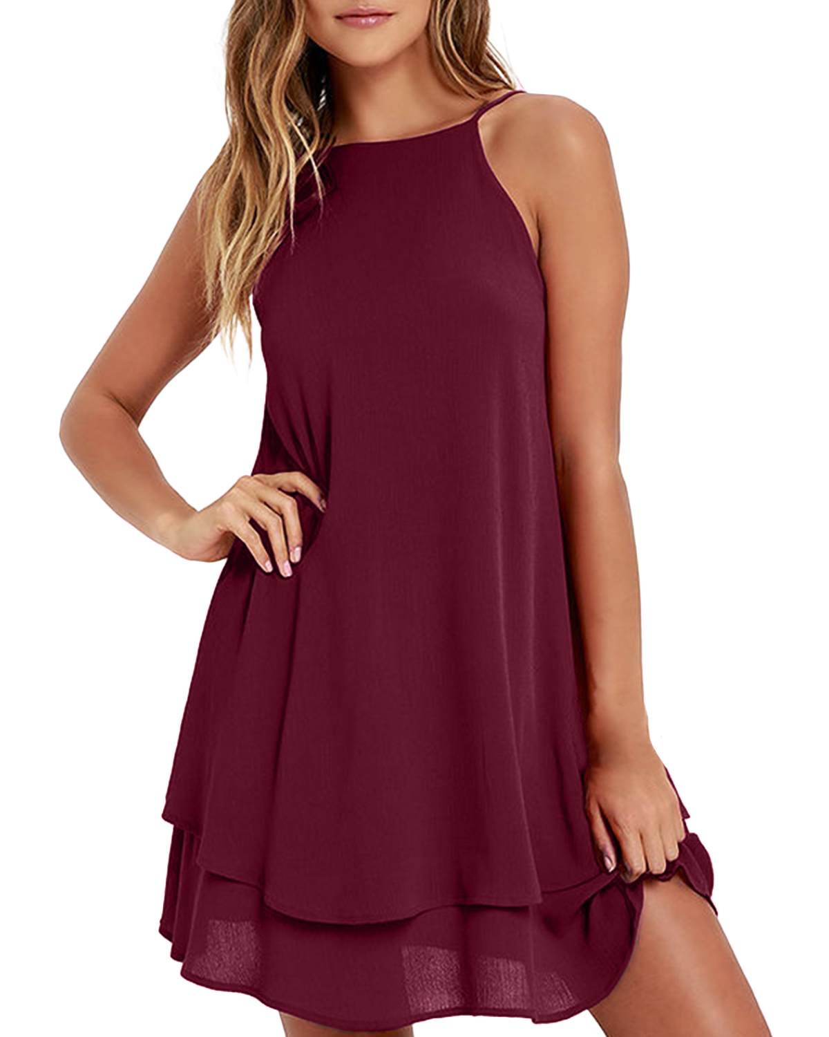 Women <font><b>Chiffon</b></font> Sleeveless Spaghetti Strap <font><b>Mini</b></font> <font><b>Dress</b></font> Ladies ZANZEA 2019 Summer <font><b>Sexy</b></font> <font><b>Backless</b></font> Sundress Solid Beach Party Vestidos image