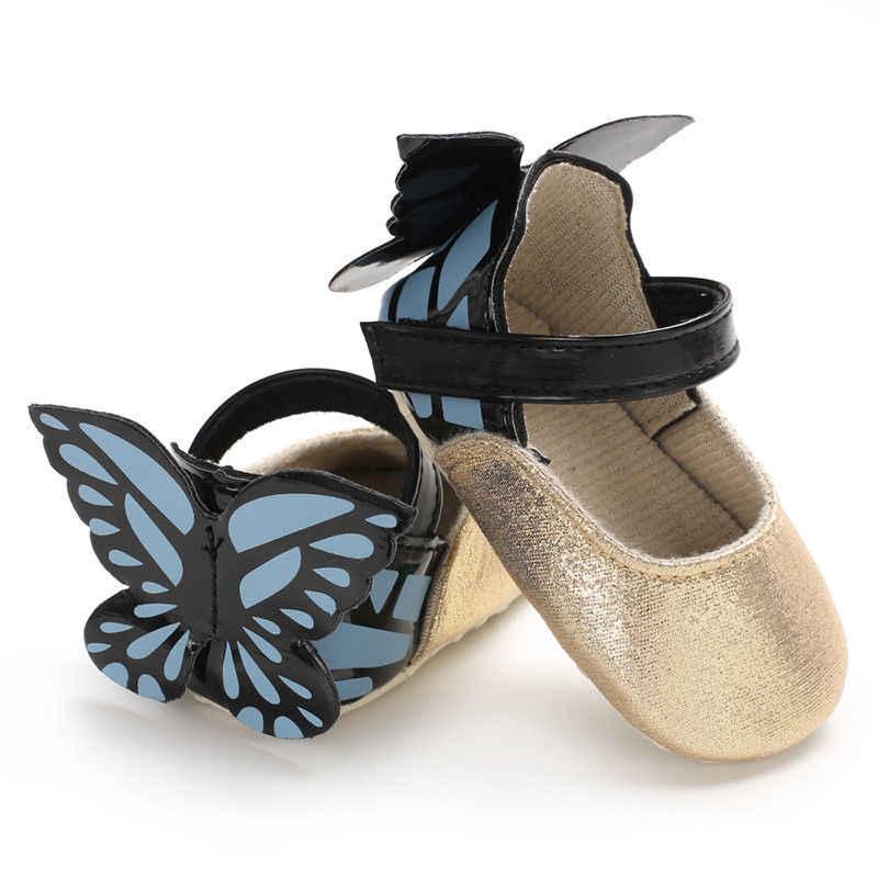 2018 Marca o Mais Novo Newborn Kid Bebé Bonito Princesa Sapatos Com Asas Moda Crib Shoes Borboleta Lindo Lantejoulas Sapatos Casuais