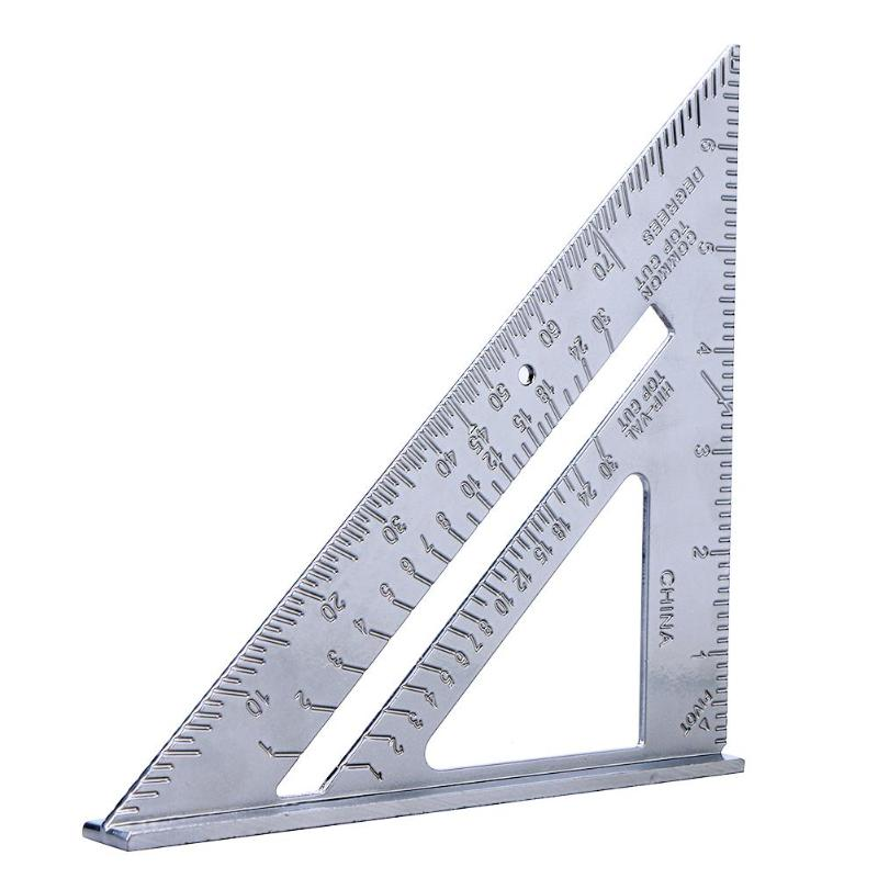 7 Inch Metric Aluminum Alloy Speed Square Roofing Triangle Angle Protractor Trammel Tool Measuring Ruler Measuring Tools