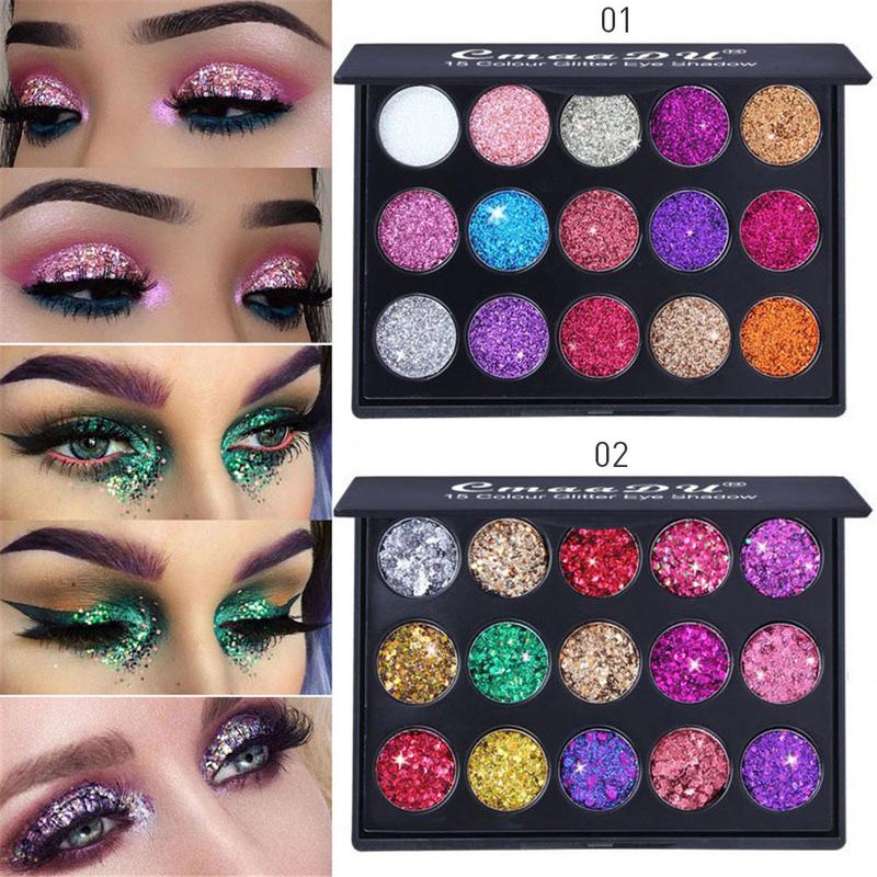 15 Colors Glitter Sequin Eyeshadow Palettes Makeup Palette Shimmer Metallic Eye Shadow Natural Female Beauty Makeup Cosmetic