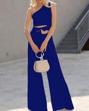 Summer Jumpsuits 2019 New Casual Women 4 Color Single Shoulder Sleeveless Ladies Cutout Tie Waist Jumpsuit Size S-XXL