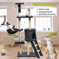 Cat Climbing Frame Gray Beige Cat Scratching Post Tree Scratcher Pole Furniture Gym House Toy Cat Jumping Platform 50*35*140 cm