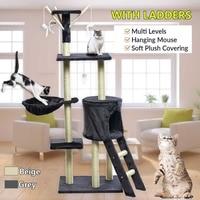 Cat Climbing Frame Gray Beige Cat Scratching Post Tree Scratcher Pole Furniture Gym House Toy Cat Jumping Platform 50*35*140 cm