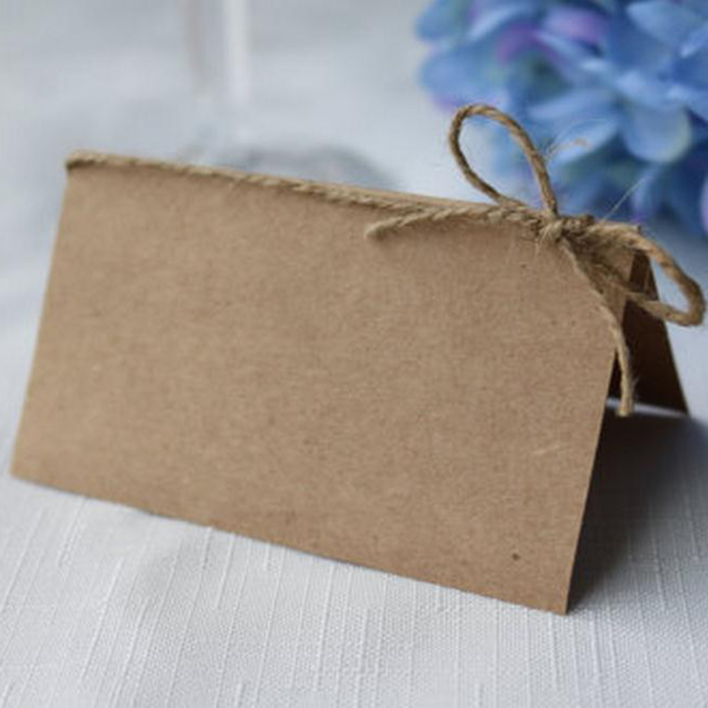 MagiDeal 50 Kraft Paper Vintage Wedding Table <font><b>Cards</b></font> <font><b>Blank</b></font> Kraft Paper Place Name <font><b>Cards</b></font> Ceremony <font><b>Invitations</b></font> 10.2 x 8.9 cm image