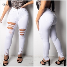 купить Sexy Stretch Pencil Jeans Women Skinny Cut Out Leggings Casual Mid Waist Ripped Holes Denim Pants Fashion Slim Stretchy Trousers по цене 2075.08 рублей