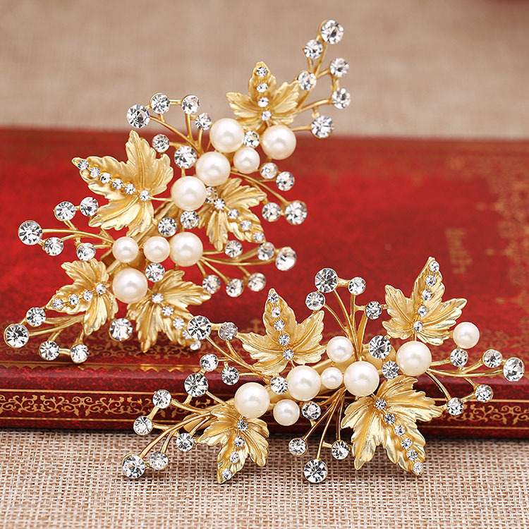 1pair pearl gold leaves hairclip Korean bride hair jewelry gold - Fashion Jewelry