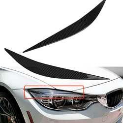 Nuevo para BMW F80 M3 F82 F83 M4 2014-2017 fibra de carbono Real un par de faros delanteros del coche párpado de la tapa del ojo recortar las cejas
