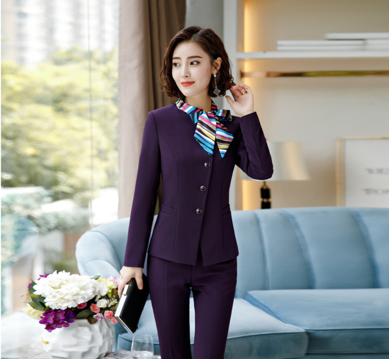 2018 Women Bow Tie Collar Neck Blazers Jackets Blazer Coat Formal Wear Outerwear Feminino Waitress Hostess Purple Blue Black formal wear