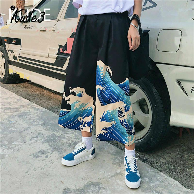 Japanese Harajuku Ukiyo-e Casual   Pants   2019 Summer Leisure Loose Trousers Woman Cartoon Printed   Wide     Leg     Pants   7479