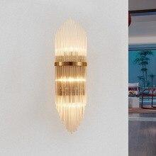 Criativo de luxo dourado interior sala estar lâmpada parede cristal lâmpada cabeceira led pós moderno clássico hotel corredor luz