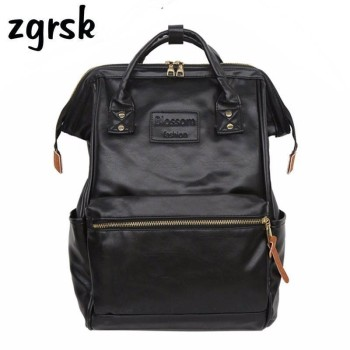 Women Laptop Student Backpack Female School Backpack Pu Leather Ladies Bagpack Backpacks For Teenage Women Bag Mochila Vintage three box mens backpack fashion pu leather backpack leisure student school bag for women men vintage casual laptop business bags