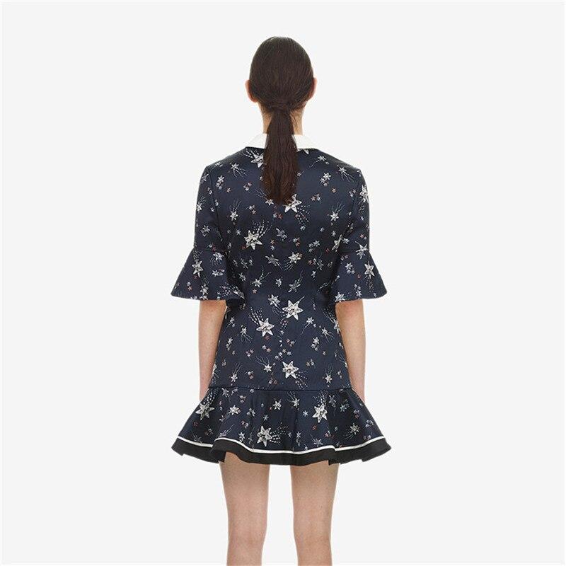Pista 2019 Abbigliamento Star Lunga Femminile Partito Primavera Donne Della Vestito Paillettes Corti Eleganti Manica Mini Blu Del Progettista Abiti BBgSwqxH