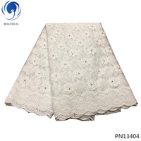 BEAUTIFICAL tulle lace fabric 2018 white african laces nigerian lace fabrics hot products 5yards dubai embrodery patterns PN134