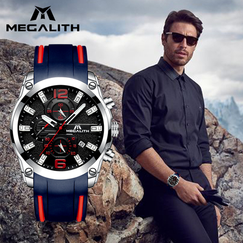MEGALITH Men Watches Sports Waterproof Chronograph Analog Quartz Watches Luminous Hands Silicone Strap Watches Relogio Masculino Multan