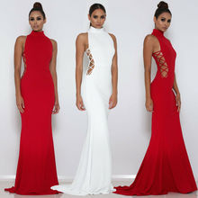 Women Elegant Long Dress Female Sleeveless Bridesmaid Prom Sexy Solid Bodycon Formal Wedding Party
