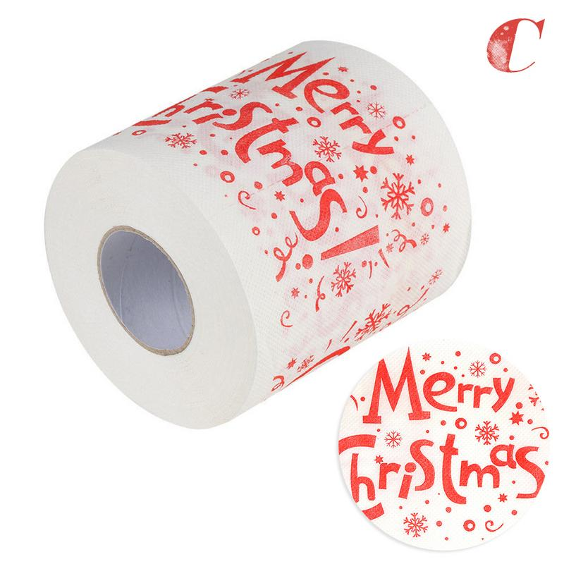 Image 4 - 4 Colors Christmas Printing Paper Toilet Tissues Novelty Roll Toilet Paper Christmas Decoration For Home Wholesale-in Party DIY Decorations from Home & Garden