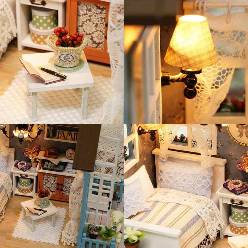 В американском стиле из дерева игрушки для детей классический дом декоративные предметы игрушки с светодиодный свет ручной работы кукольный дом мебель комплект