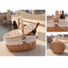 Hand Made Wicker Basket Camping Picnic Shopping Storage Hamper With Lid And Handle Safe Durable