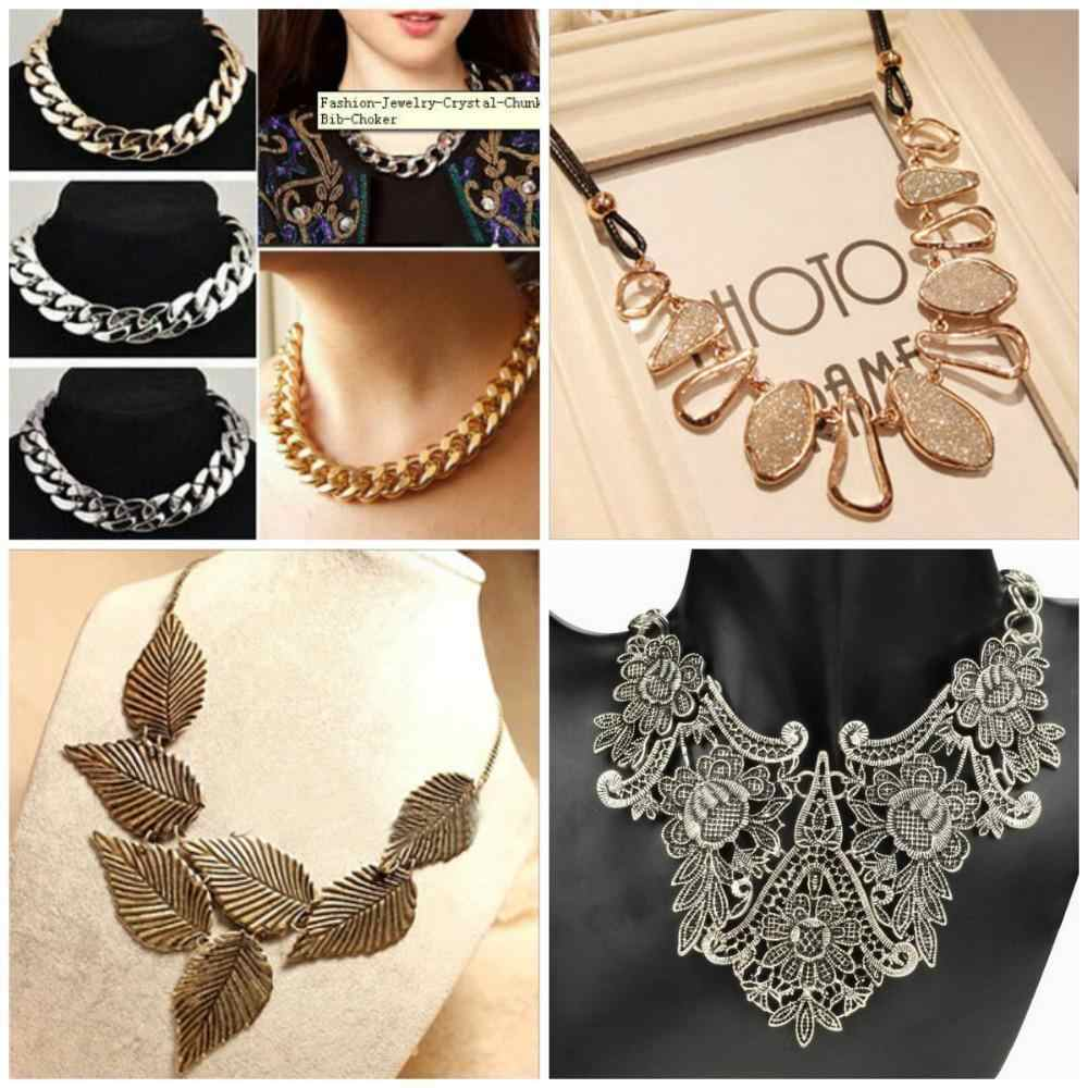 New Fashion Charm Jewelry Pendant Chain Crystal Choker Chunky Statement Bib Necklace for Women Gifts