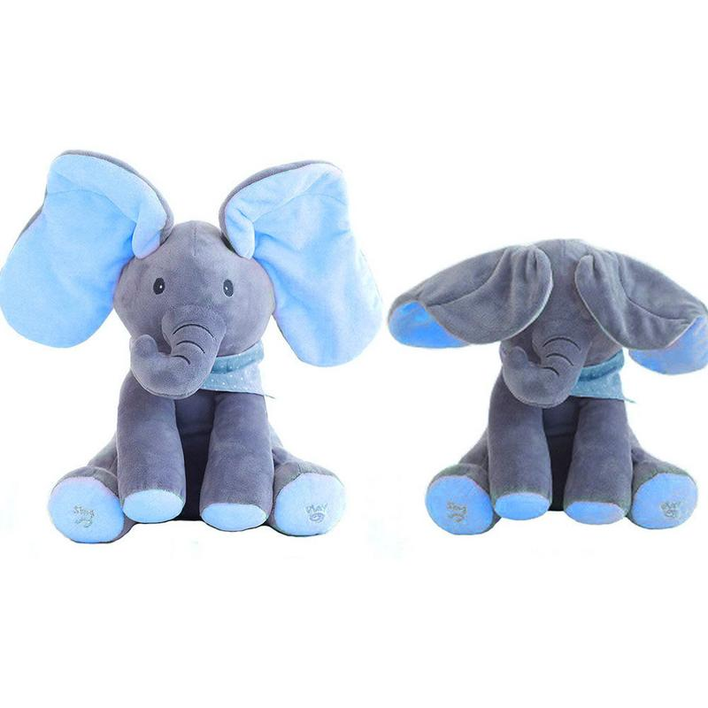Baby Soft Plush Electric Toys Peek-a-boo Shy Elephant Music Animated Doll Stuffed Electric Hide And Seek Animal Toy For Kid Gift