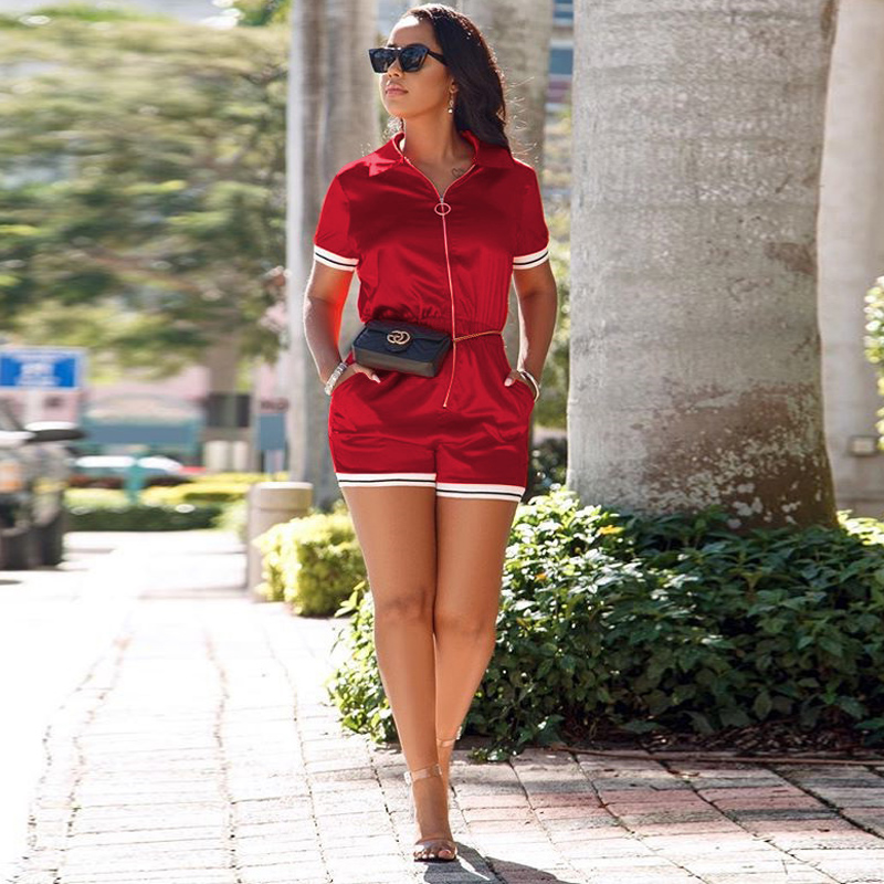 One Piece Jumpsuit Zip Front Shorts Romper Women Overalls Playsuit Short Sleeve Summer Streetwear Female Play Suits Bodysuits