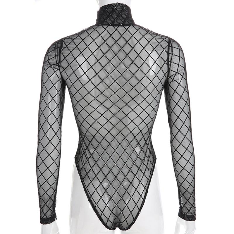 Perspective Mesh Jumpsuit Ladies Hot Stamping Gold Long Sleeve High Collar Perspective Mesh Soft Black Bodysuits For Women New