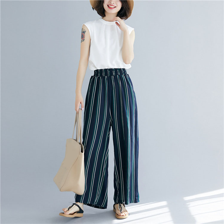 Summer Women Trousers Oversized Stripe Elastic Waist   Pants   Lady Blue Pockets   Wide     Leg     Pants