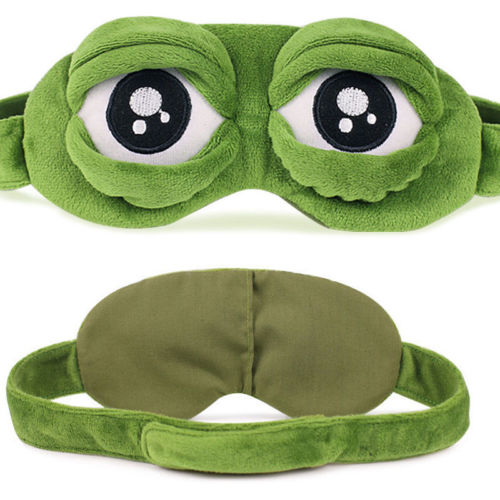 Unisex 3D Cartoon Sleep Mask Frog Eye Cover Eye Blindfold Sleeping Make Travel Home Fun Super Cute Frog Sleep Eye Mask 24*8.5cm