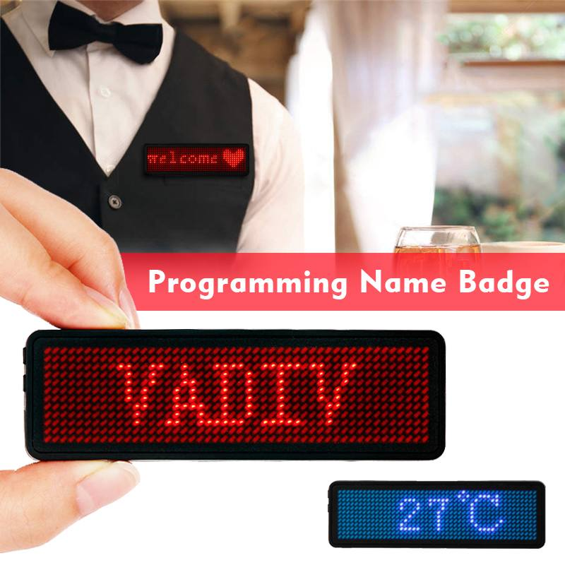 2019 New 12*48 Pixel LED Name Badge with Magnet and Pin Scrolling Display  Message Sign Dots Rechargeable Led Name Tag for Event