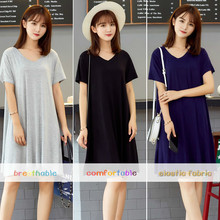 Modal comfortable and breathable bottoming dress women short-sleeved v-neck loose large size solid sexy mini summer