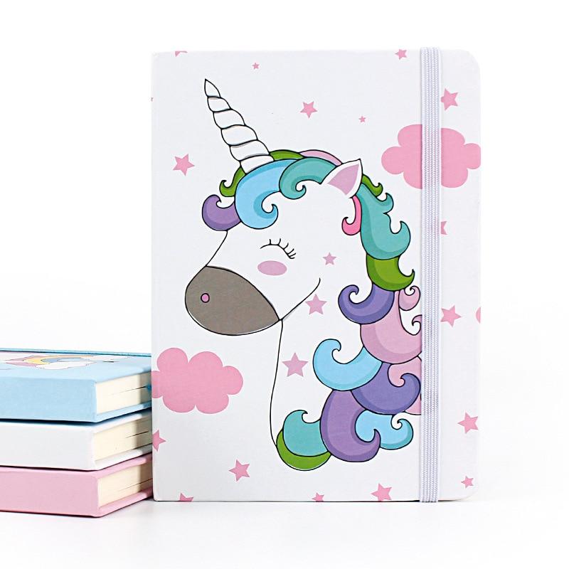 A5 Binder Kawaii Unicorn Lined Journal Planner Book Hardcover Hardback Notebook Paper Bullet Journal Supplies Zwart Papier