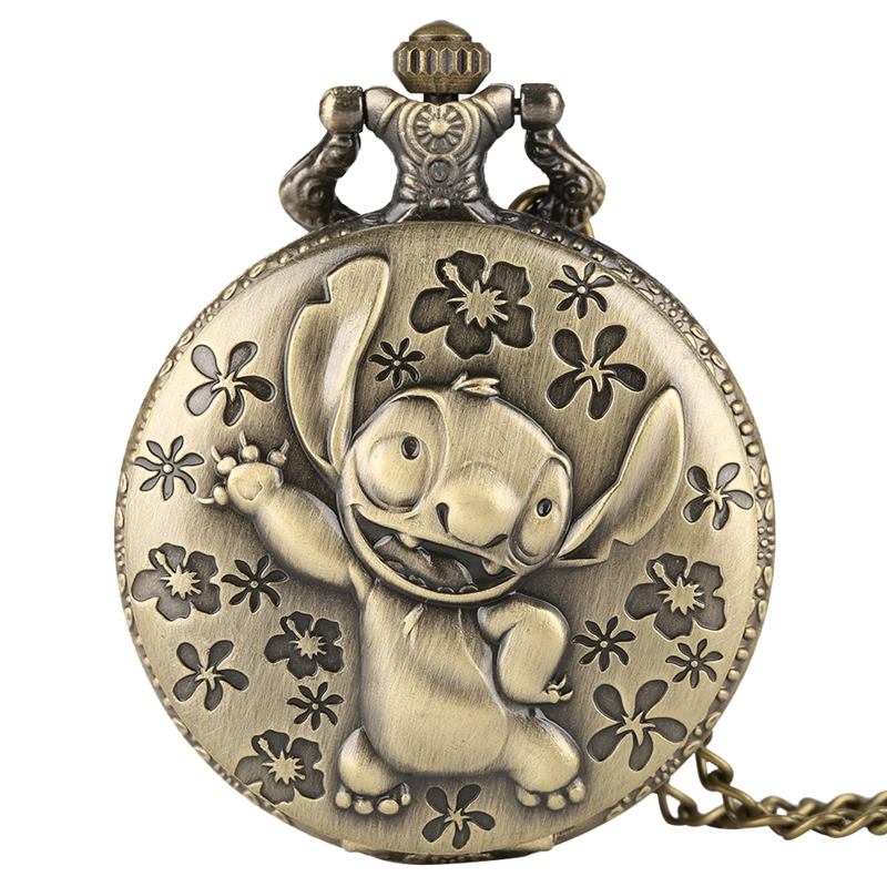 Antique Movie Lilo & Stitch Pocket Watch Necklace Vintage Cute Koala Quartz Fob Chain Watch Flip Clock Pendant Children Gifts