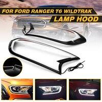 2pcs Matte Black LED Head Light Front Shell Cover Trim For FORD RANGER T6 WILDTRAK 15 17 ABS Lamp Hoods