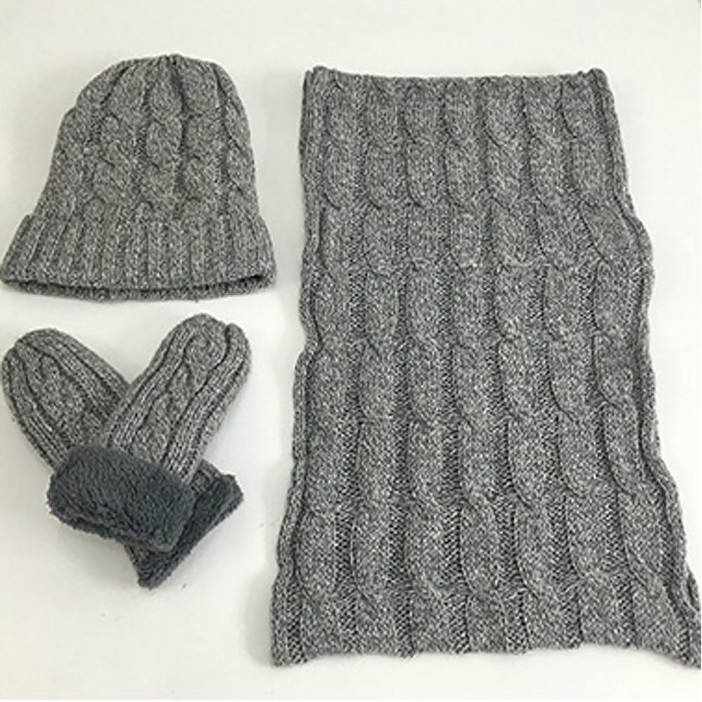 Men Ski Fashion Beanie Hat Solid Unisex Warm Knitted Scarf Gloves Set Winter Soft Thermal Neck Glove Snowboard Neckerchief