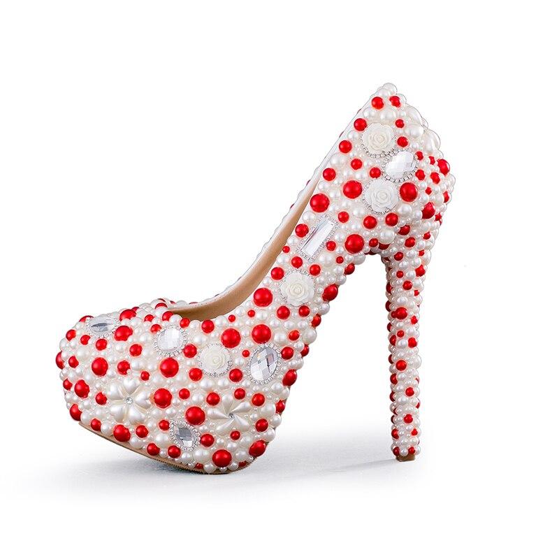 Talon Perle Heels Rouge 2 Mariée 14cm 8cm 2cm Et white Designer White Haut 11cm 2018 Nouveau Pompes forme De Noce Blanc Cm Heels Compensé Plate Magnifique Chaussures Femmes BCq77X