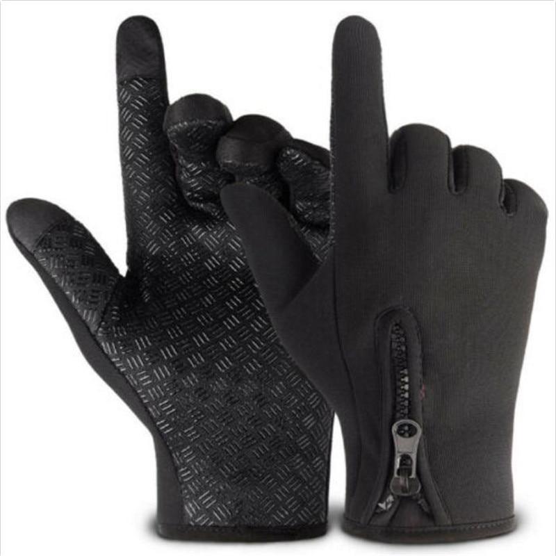 Men Women Winter Windproof Gloves Touch Screen Outdoor Warm Thermal Unisex Stylish Villus Inside Adjustable Zipper Knit Mittens