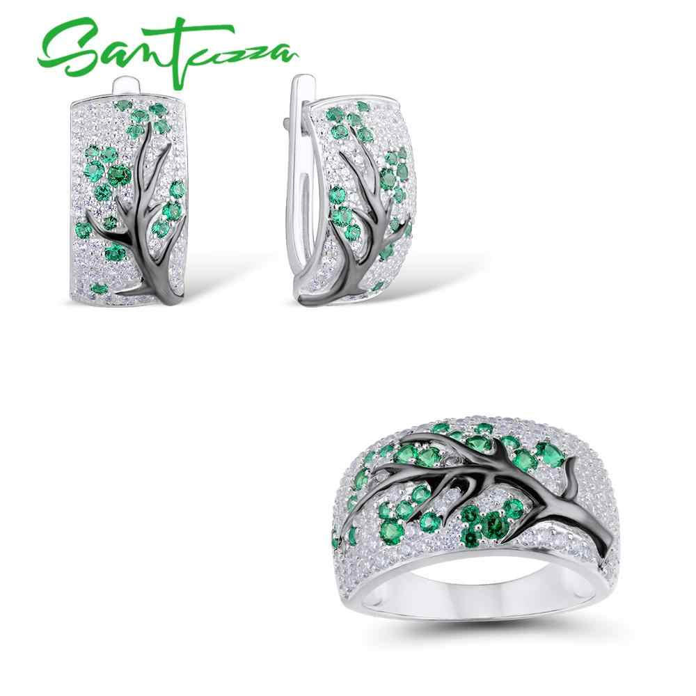 SANTUZZA Silver Jewelry Set for Women Green Branch Cherry Tree Earrings Ring Set 925 Sterling Silver Delicate Fashion Jewelry