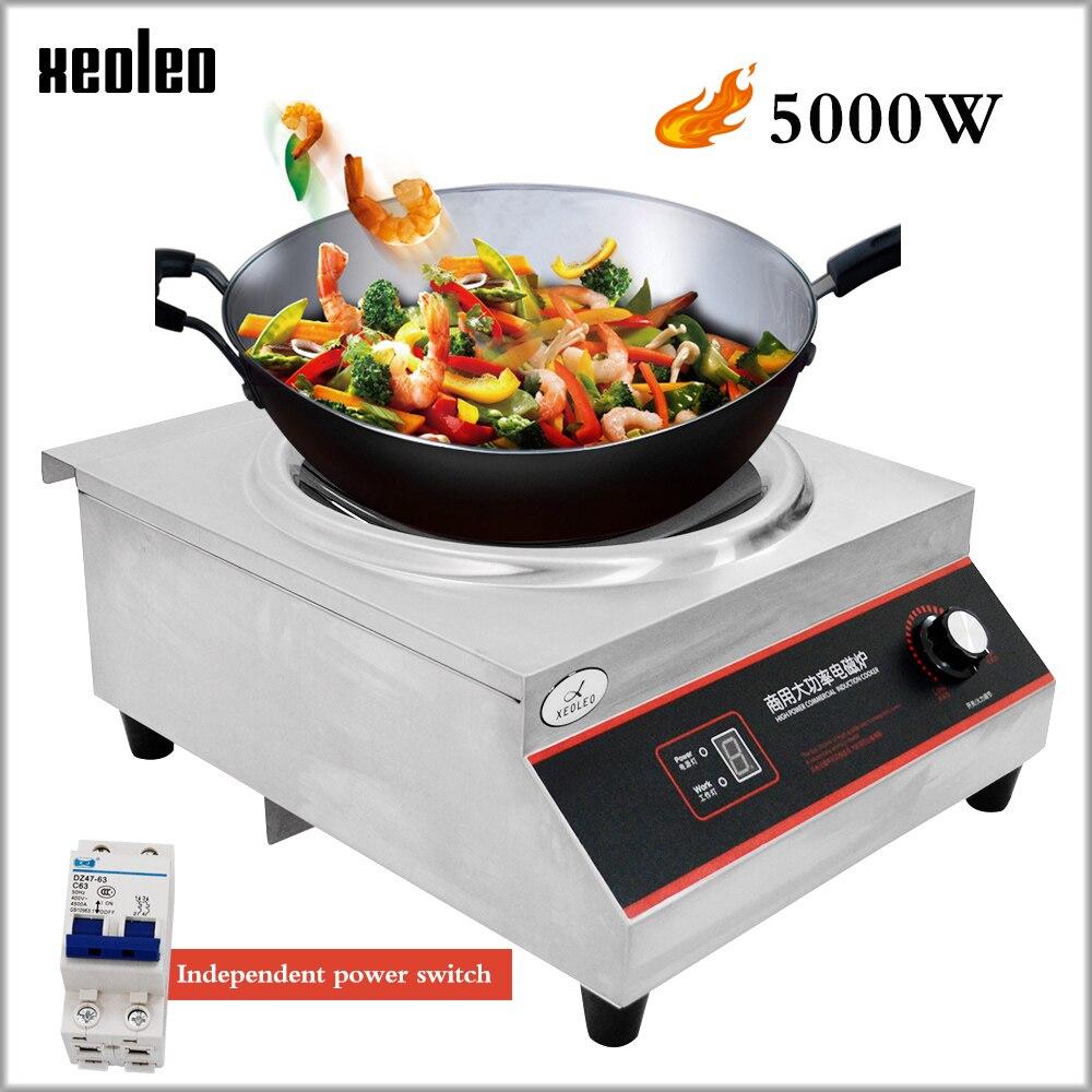 XEOLEO 5000W Côncavo fogão de Indução Comercial Fogão Eletromagnético Fogão Eletromagnético 5 arquivos de potência Ajustável