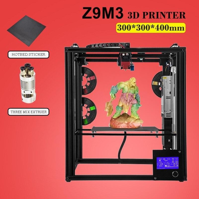 ZONESTAR vente chaude deux trois extrudeuse mélange couleur grande taille pré-assemblé imprimante 3D kit de bricolage niveau automatique en option gravure Laser