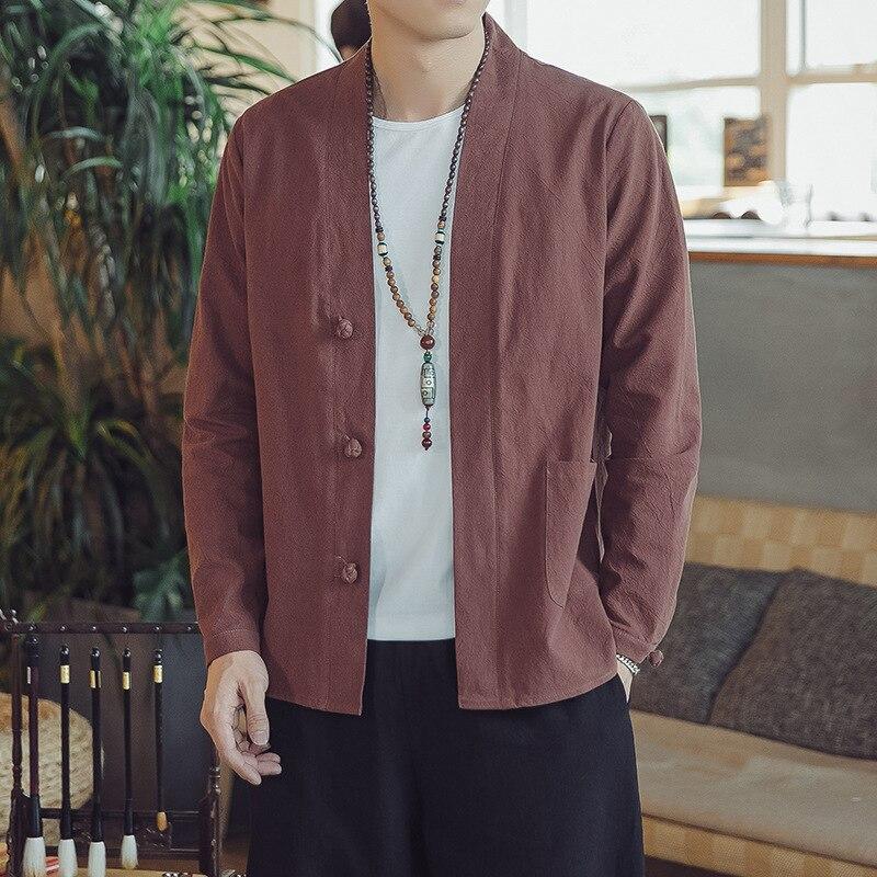 #4345 Chines Stile Biancheria Del Kimono Cappotto Uomini Apri Stitch Vintage Giacca Di Lino Casual Streetwear Più Il Formato Tradizionale Cinese M-5xl Bello A Colori
