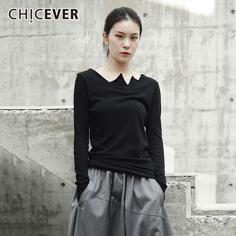 CHICEVER Black Female T shirts Irregular Collar Long Sleeve Asymmetrical Tops Women Big Size 2019 Spring Casual Fashion New