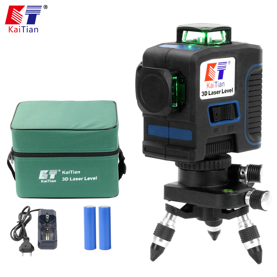 KaiTian 12Lines 3D Laser Level Self Leveling Horizontal 360 Rotary Vertical Cross Super Powerful Green Laser