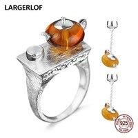 LARGERLOF 925 Silver Jewelry Set Amber Ring Earrings Women Fine Jewelry 925 Silver Jewelry Handmade Jewelry Sets JS50014