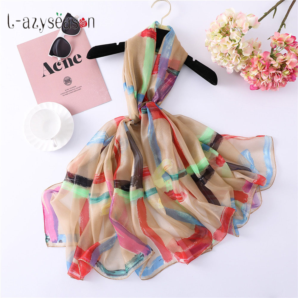 2019 New Fashion Head Silk   Scarf   Women luxury brand thin print foulard femme Silky   Scarves     Wraps   Lady's shawl high quality