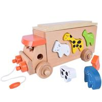 Wooden Blocks Animal Trailer Toy Around Beads Learning Game Multicolour Wooden Educational Toy Children Kids Puzzle Gift