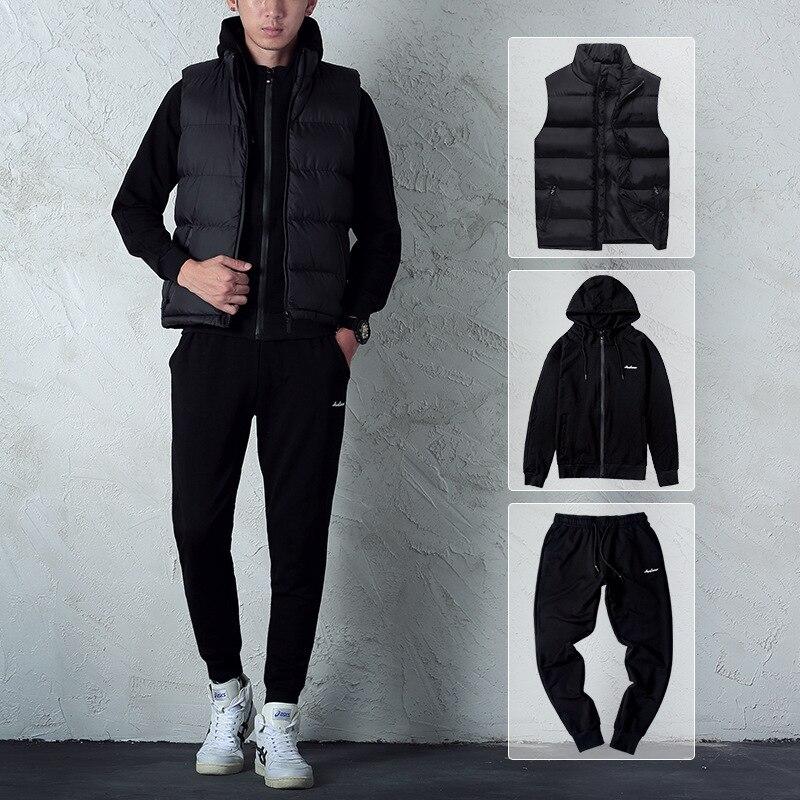Automne hommes ensembles mode noir survêtement ensemble à capuche zipper sweat + faisceau pied pantalons de survêtement + chaud gilet vêtements de sport décontractés Outwear - 4