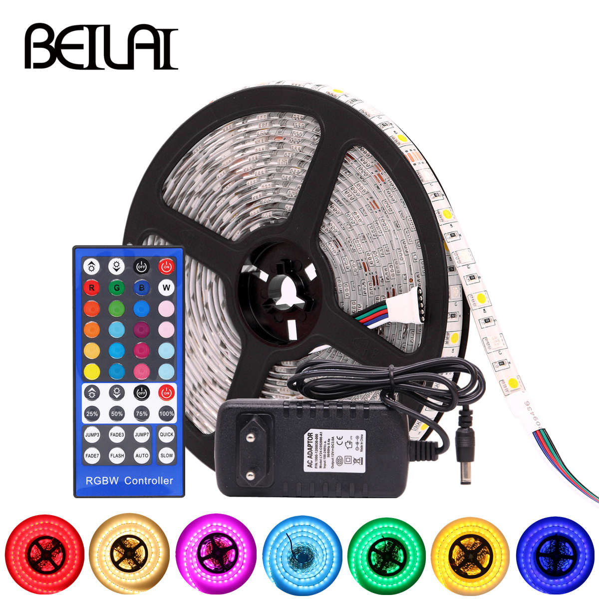 BEILAI SMD 5050 RGB LED Strip Waterproof DC 12V 5M 300LED RGBW RGBWW LED Light Strips Flexible with 3A Power and Remote Control beiyun smd 5050 rgb led strip 5m 300led not waterproof dc 12v led light strips flexible neon tape luz white warm white rgb