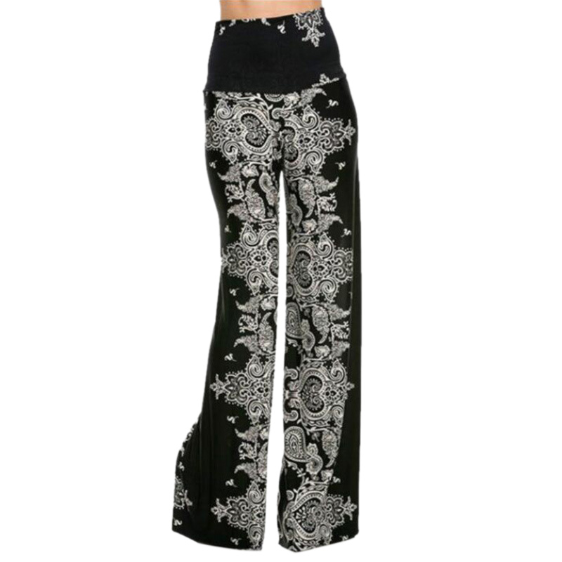 New Plus Size Women Fashion Floral Printing High Waist Casual Loose   Wide     Leg   Palazzo   Pants   Dance Trousers Ladies Clothes