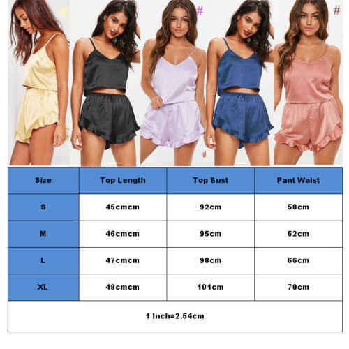 ... Ladies Sexy Silk Satin Pajama Set Lace Pyjama Set Sleeveless Pijama Set  V-neck Sleepwear ... 9c6c09b7d